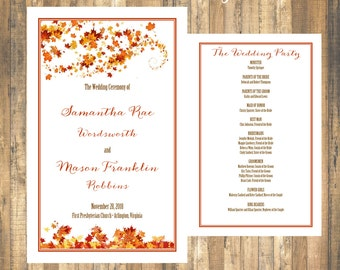 Fall Wedding Program Template Instant Download Swirling Leaves Folded NO CUT 85 X 11 Editable