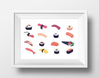 Minimalist Sushi Print, instant digital download