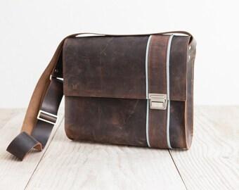 Postman bag XL from Haeute, high quality leather bag, dark brown cowhide, handmade in Germany