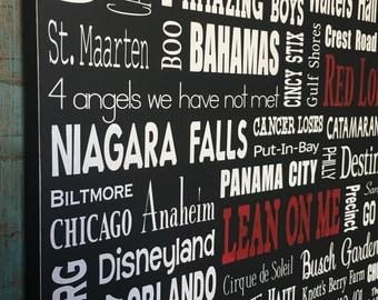 24x36, Custom Personalized Wood Subway Sign, Subway Art, Word Collage