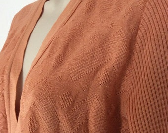 Vintage Peach Chevron Seventies M&S Cardigan - 14