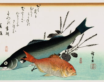 "Japanese Ukiyoe, Woodblock print, antique, Hiroshige, ""Common Seabass, Alfonsinos & Beefsteak Plant"""