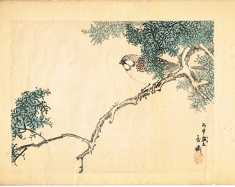 "1913, Japanese Woodblock print, antique, Taniguchi Kakyo, ""meadow bunting"""