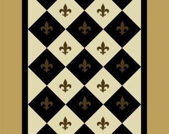 Checks and Fleur de Lis Floorcloth