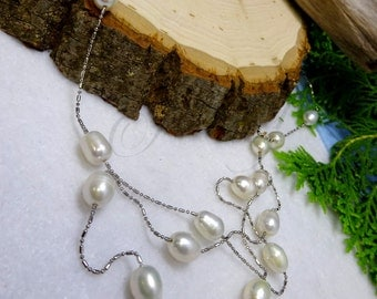 Genuine Pearl Lariat Station Stainless Steel Necklace