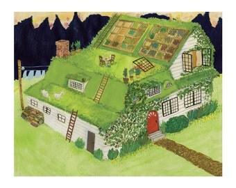 "Green Roof House 8x10"" Giclee Print"