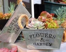 Free Shipping* /Rectangular metal planter/ Modern planter pot/ Shabby Chic decor/ Minimalist decor/ Shabby Chic wedding/ Wedding Centerpiece
