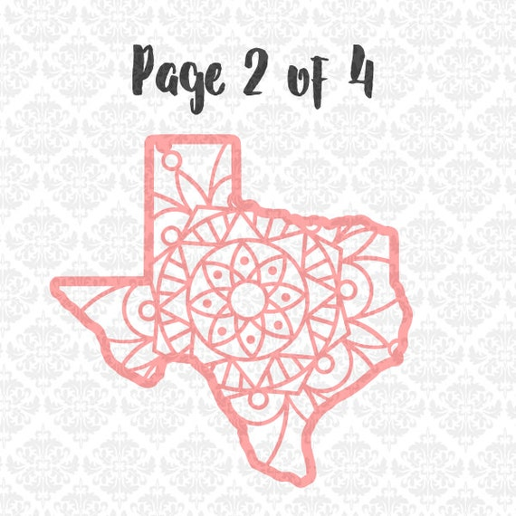 Texas Filigree Henna Lace Zentangle Intricate SVG DXF Ai Eps PNG Scalable Vector Instant Download Commercial Cricut Silhouette Cutting File