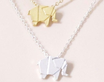 ORIGAMI ELEPHANT Necklace | Friendship Necklace |A5silver| Zoo Woodland animal necklace Best Friend Necklace, Best Friend Gift small lucky