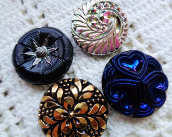 SALE 4 Czech art glass buttons with mixed fancy finishes 27mm  FREE SHIPPING