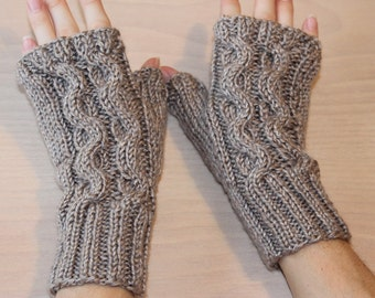 Womens knit fingerless gloves with serpentine design
