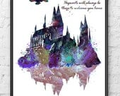 Hogwarts Castle Harry Potter Hogwarts Painting Movie Poster Watercolor Print Purple Kids Wall Hanging Children Room Home Decor - 276-2