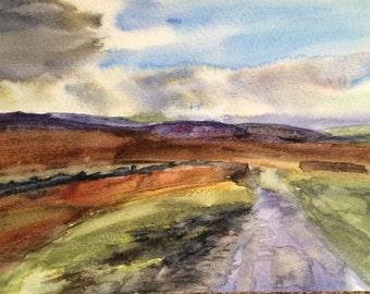 Dartmoor, Devon, English landscape, South Devon, moors, England, English Countryside, hills, watercolor landscape, South West England