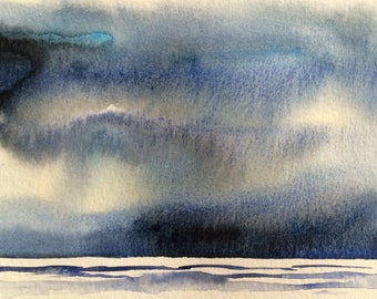 Landscape watercolor, abstract landscape, Sky painting, Storm clouds, cloud painting, minimal watercolor, monochrome painting,snow landscape