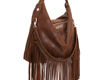 Fringed shoulder leather bag