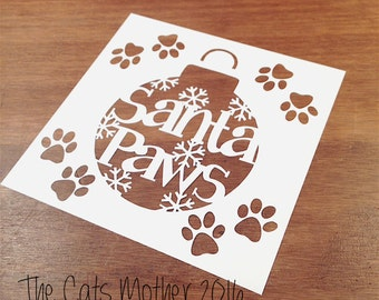 Santa Paws Christmas Themed Paper Cutting Template - Commercial Use