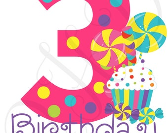DIGITAL FILE Candy Age 3 Birthday Girl Iron On Transfer Digital Download - You Print