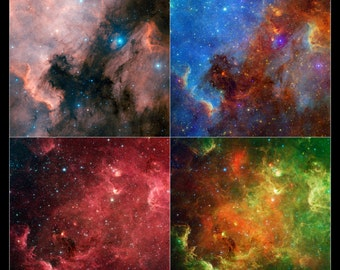 24x36 Poster . North America Nebula From Digitized Sky Survey And Spitzer
