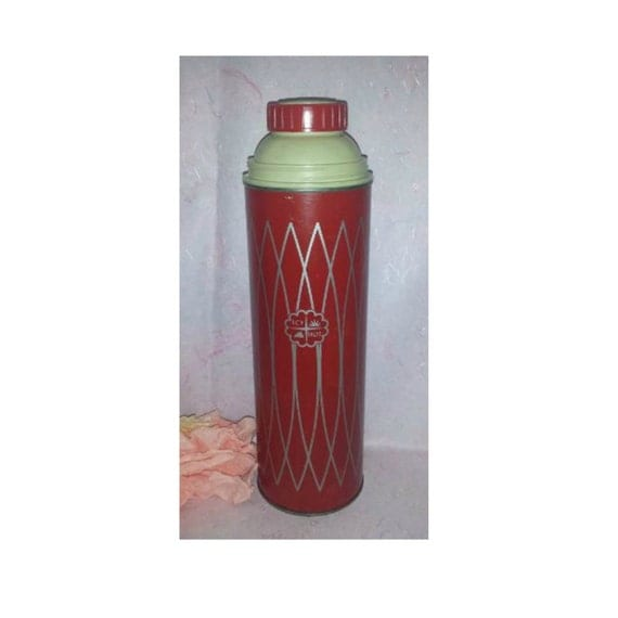 Vintage thermos icy hot vacuum bottle 1 quart red made in usa red