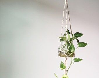 macrame plant hanger - home decor - plant hanger - natural decor - rustic home decor - cotton