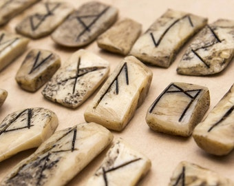 Handmade Runes made in Real Bone
