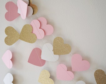 Pink and Gold Lux Heart Paper Garland