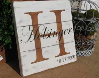"Rustic Personalized Family Name Sign (10.5"" x 10.5"")"