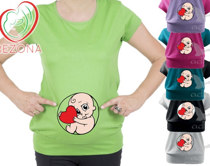 New Maternity Pregnancy Baby Inside Womb with Heart- Valentine's Day Gift, great funny tshirt, tunic for moms-Baby Shower Gift