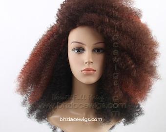 Red mix afro kinky curl FULLCAP 072-073 wig natural hair full cap wig rihanna wig Nicki Minaj wig Taylor Swift wig drag queen wig