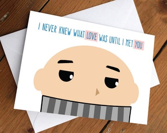 GRU CARD // despicable me, minions, disney, pixar, cute, anniversary, love, valentines day, celebration, greeting card