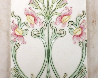 "Art Nouveau  Tile by Providential Tile Works, size 9"" x 6"", weight 1.8 Lb. The company was in business from 1885 to 1913."
