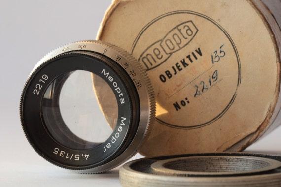 Lenses Meopta Meopar 4.5/135 M30 Screw Mount Enlarging Lens with a box N2219