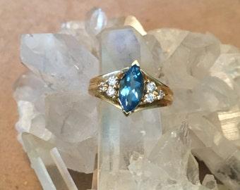 Ladies Gold Ring set with Swiss Blue Topaz & Diamonds
