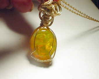 Wire Sculpted Firey Ethiopian Opal, Gold Filled Wire