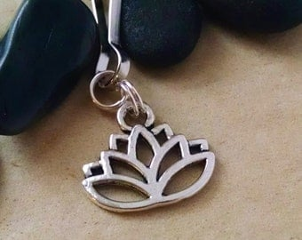 Lotus Zipper Pull, Lotus Keychain, Key Chain, Gift For Her, Gift for Teacher, Party Favor, Flower Key Chain, Yoga Accessories, Lotus Flower