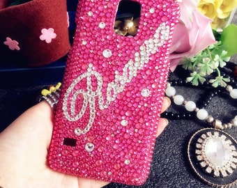 New Personalized Diy Name Bling Pink Sparkles Cursive Letter Words Crystals Rhinestones Diamonds Fashion Lovely Hard Cover for Mobile Phone