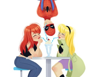Spiderman Love Triangle A4 Print