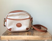 RESERVED// Authentic Dooney and Bourke Messenger Bag, Tan and White Leather