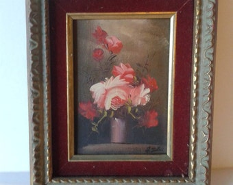 "Vintage Oil Painting "" 5x7 Framed Roses in Vase "" JcPenny 1970's"