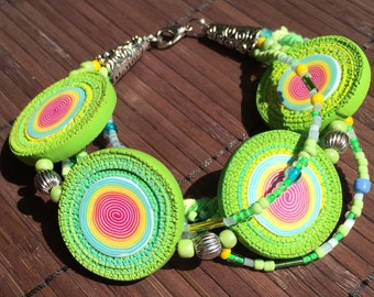 Vibrant green color,Polymer clay bracelet, bohemian style