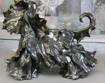 Hand Built Ceramic Highly Stylized Afghan Hound  Statue