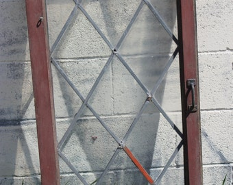 Vintage Leaded Glass Door with Weathered Red Frame and Original Metal Hardware