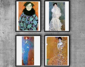 Klimt Set of 4 Digital Prints Portrait Paintings Affordable Art Downloads DIY Digital Paper Craft Best Vintage Images Mother's Day Gifts
