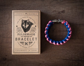 Men's bracelet-women's pink-royal blue Unisex-Pulsemade Xark Collection-Handmade paracord 550 bracelet Mens-Womens pink-Blue Royal