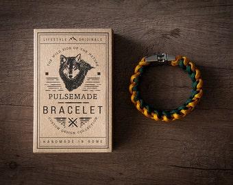 Men's bracelet-women's mustard-emerald green Unisex-Pulsemade Xark-Handmade paracord 550 Bracelet Mens-Womens Goldenrod-Emerald green