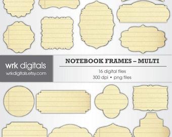 Notebook Frame Clip Art Digital Pack, Digital Scrapbooking, Instant Download