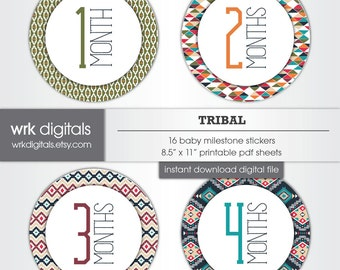 Monthly Milestone Stickers, Tribal, INSTANT DOWNLOAD Monthly Baby Stickers, Printable Baby Milestone Stickers, Gender Neutral