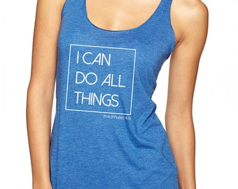 "Ladies, Royal Blue ""I Can Do All Things, Phil 4:13"" Tri-blend Racerback Tank"