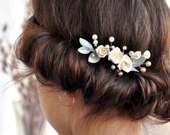 Bridal Hair comb pearls flower Bridal Pearl Comb Flower Ivory Bridal Headpiece Bridal hair piece Wedding hair comb Bridal pearl accessories