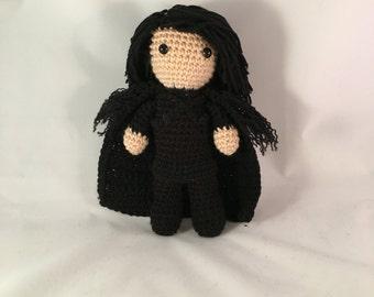 Jon Snow amigurumi from Game of Thrones wearing Night's Watch Cloak